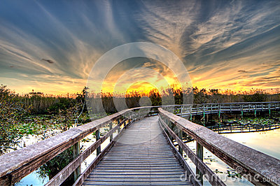 Everglades Sunset - Boardwalk to Burning Skies - Anhinga Trail