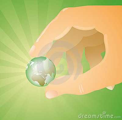 Hand Holding Glowing Earth