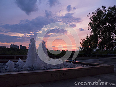 Sunset over the Potomac River at John F Kennedy Arts Centre in Washington DC USA