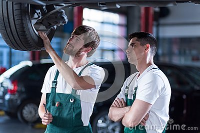 Two handsome auto mechanics