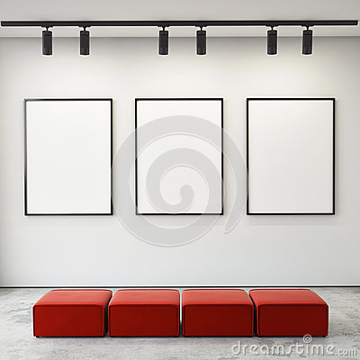 Mock up posters frames and canvas in gallery interior background,
