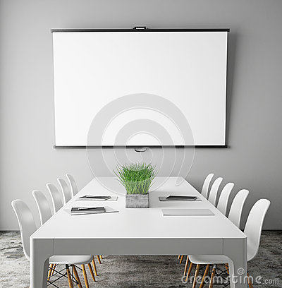 Mock up projection screen in meeting room with conference table, hipster interior background,