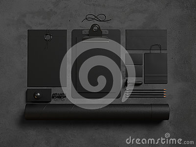 Set of office elements on the black background. 3d