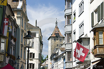 Old town street in Switzerland