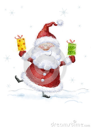 Santa Claus on snow background.
