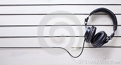 Art music studio background with dj headphones