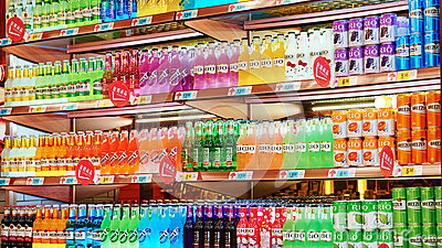 Soft drinks and beverages in supermarket