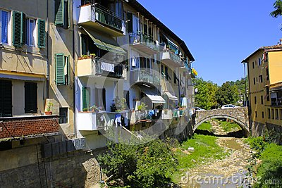 Colorful Apartment Buildings in Chianti, Italy