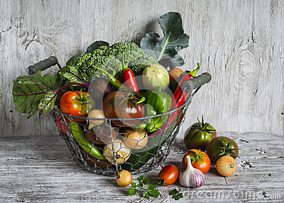 Fresh garden vegetables - broccoli, zucchini, eggplant, peppers, beets, tomatoes, onions, garlic - vintage metal basket