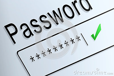 Close-up type password correct protect on screen, beware social