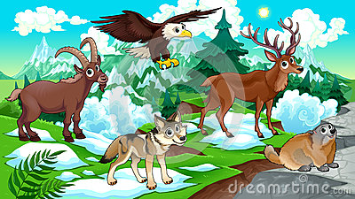 Cartoon mountain animals with landscape