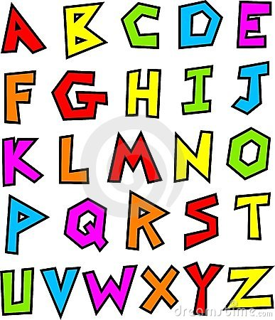 funky style made up alphabet isolated on white