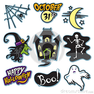 Haunted house halloween collection with witch, skeleton, and ghost