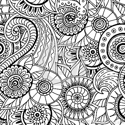 seamless floral retro doodle black and white pattern in vector
