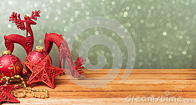 Christmas website banner background with decorations on wooden table