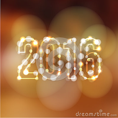 Happy new year greeting card with 2016 and glittering lights,