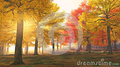 Autumn forest trees in magical colors
