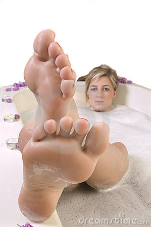 Woman in anti-toxin bath