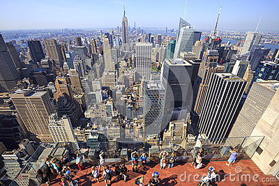 View of New York City as seen from the Rockefeller Center Observation Deck