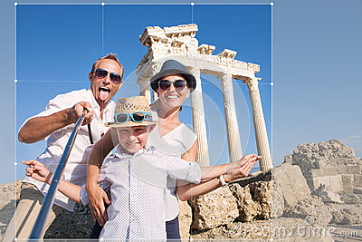 Happy family selfie travel photo cropping for share in social ne