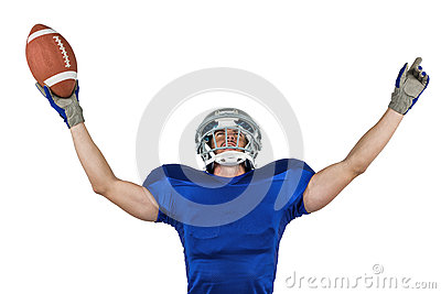 American football player gesturing victory