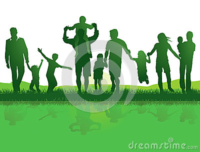 stock image of active families outdoors