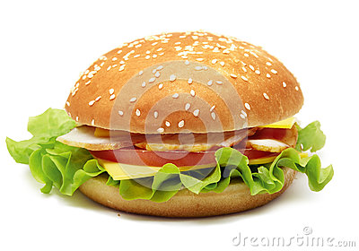 Sandwich with hum, cheese, tomatoes and lettuce