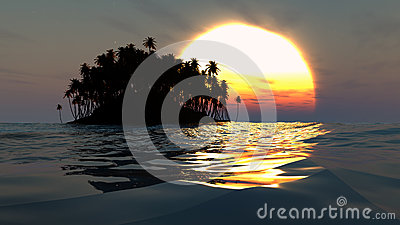 Tropical island silhouette over sunset in open ocean