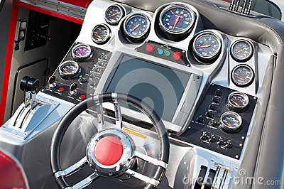 Steering wheel and dashboard speed boat