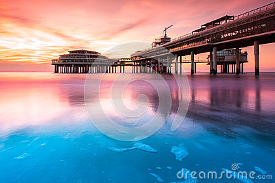 Scheveningen Pier at sunset