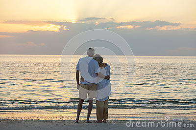 Senior Couple at Sunset Tropical Beach