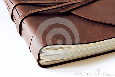 Historical brown old ancient leather book closed