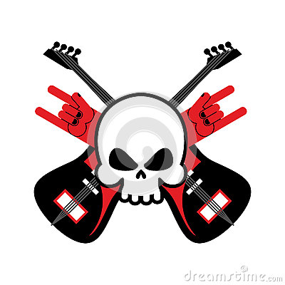 Skull with guitars and rock hand symbol. Logo for rock band. Log