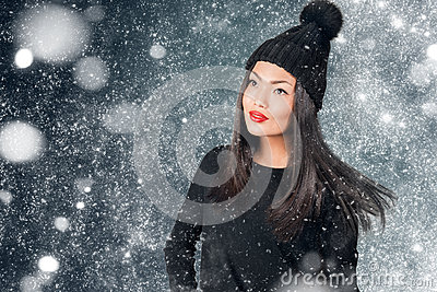 Beautiful asian woman wearing knitted hat with pompom
