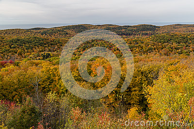 Fall colors at Summit Peak in Porcupine Mountains