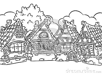 Adult Coloring Pages Row Houses