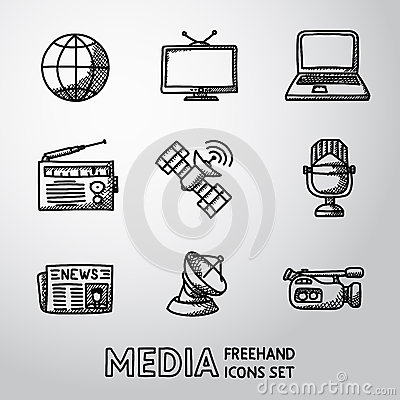 Set of handdrawn media icons - news, radio, tv