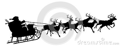 Santa Claus with Reindeer Sleigh Symbol - Black Silhouette
