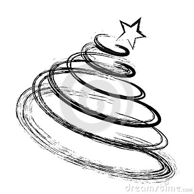 Abstract Drawing Christmas Fir Tree Black Silhouette with Sketch