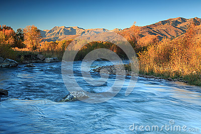 Sunrise river in the Wasatch Mountains.