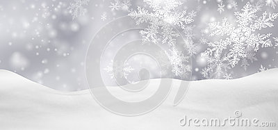 Abstract Silver Background Panorama Winter Landscape with Falling Snowflakes