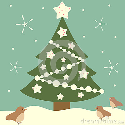 Cartoon christmas tree with white stars holiday background illustration