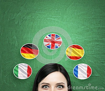 A concept of foreign language studying process. A foreseen of the brunette girl surrounded by icons of european flags.