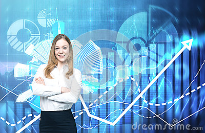 A beautiful business lady with crossed hands is going to provide financial services. Financial charts on the background.