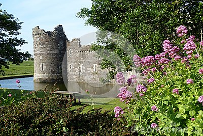 Beaumaris Castle, Anglesey, Wales With Moat and Flowers