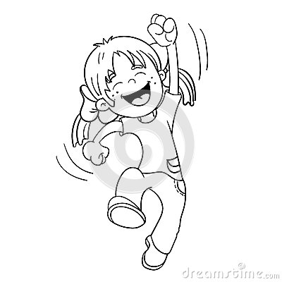 Coloring Page Outline Of A Jumping Girl