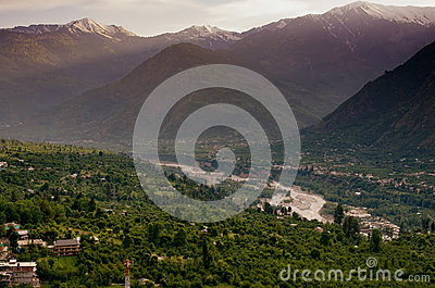 Evening view of Kulu valley with Himalaya range in