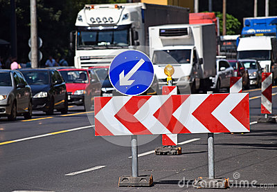 Road barrier on the street