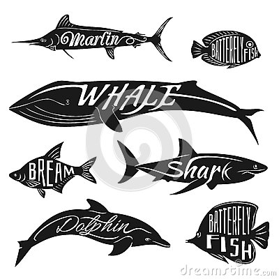 Retro, vintage fish with names. Vector tattoo set