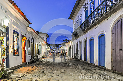 Street view in the Colonial Town of Paraty, Brazil